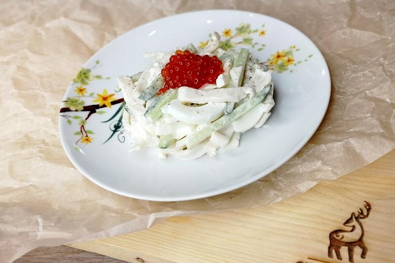 практичные салат кальмары с икрой фото прямоугольное пространство